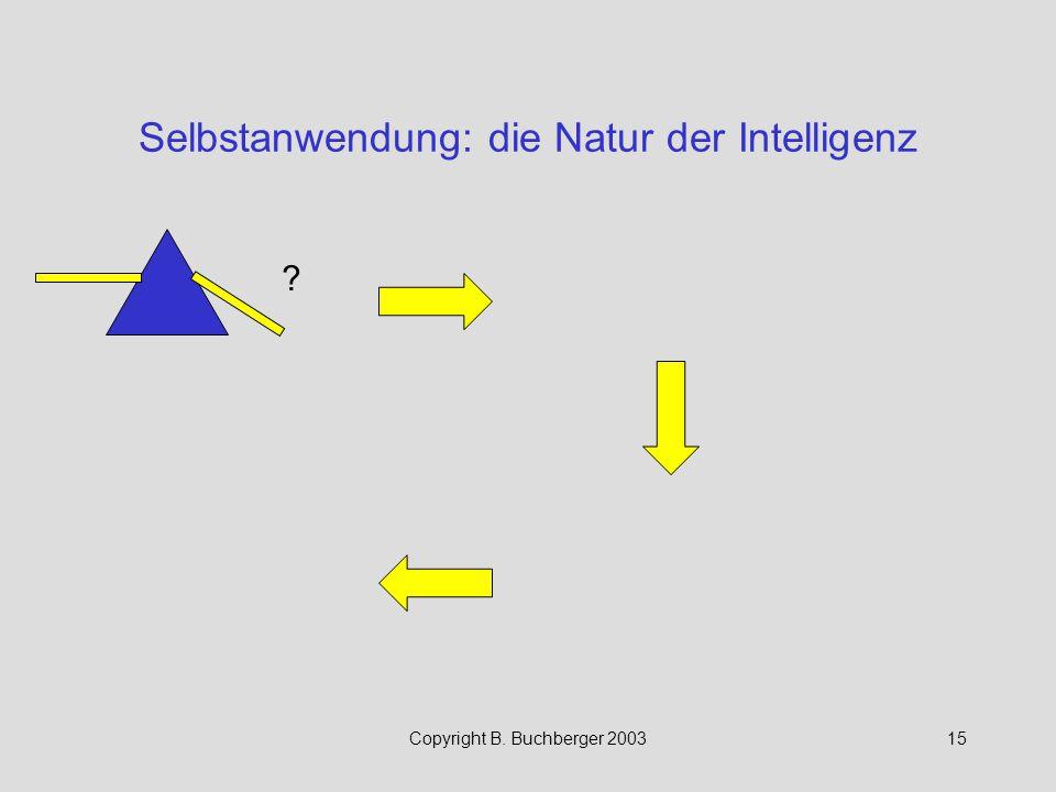 Copyright B. Buchberger 200315 Selbstanwendung: die Natur der Intelligenz ?