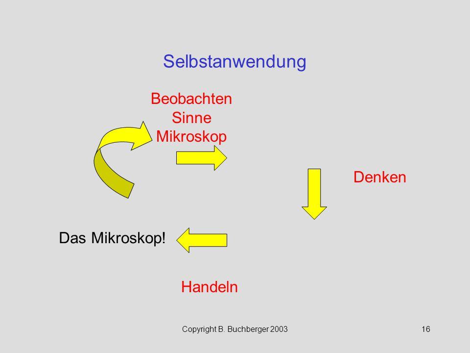 Copyright B. Buchberger 200316 Selbstanwendung Beobachten Sinne Mikroskop Handeln Denken Das Mikroskop!