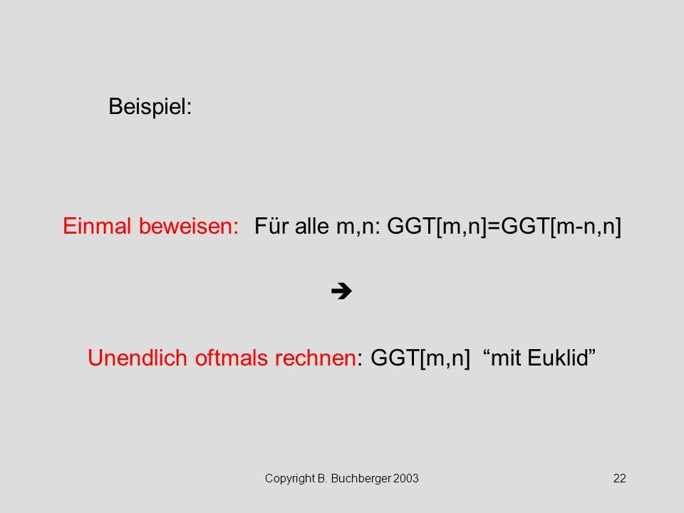 """Copyright B. Buchberger 200322 Einmal beweisen: Für alle m,n: GGT[m,n]=GGT[m-n,n]  Unendlich oftmals rechnen: GGT[m,n] """"mit Euklid"""" Beispiel:"""