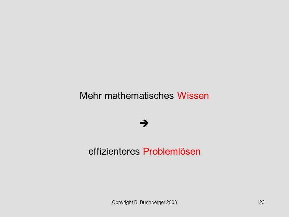 Copyright B. Buchberger 200323 Mehr mathematisches Wissen  effizienteres Problemlösen