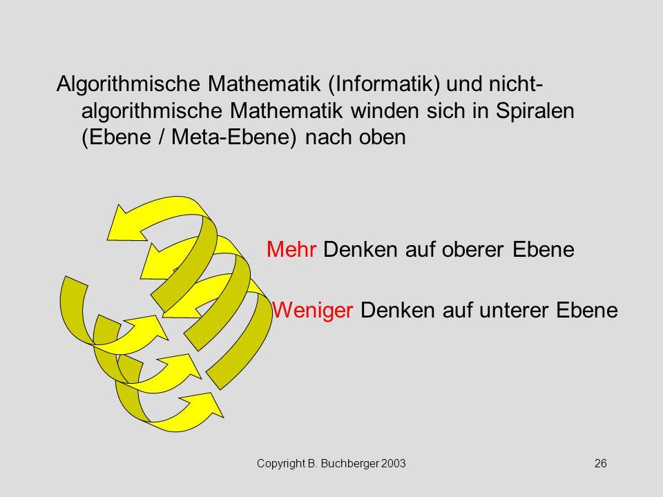 Copyright B. Buchberger 200326 Algorithmische Mathematik (Informatik) und nicht- algorithmische Mathematik winden sich in Spiralen (Ebene / Meta-Ebene