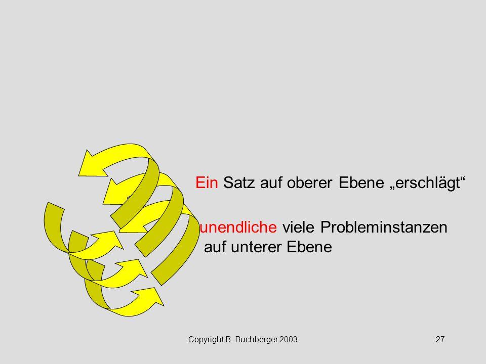"""Copyright B. Buchberger 200327 Ein Satz auf oberer Ebene """"erschlägt"""" unendliche viele Probleminstanzen auf unterer Ebene"""