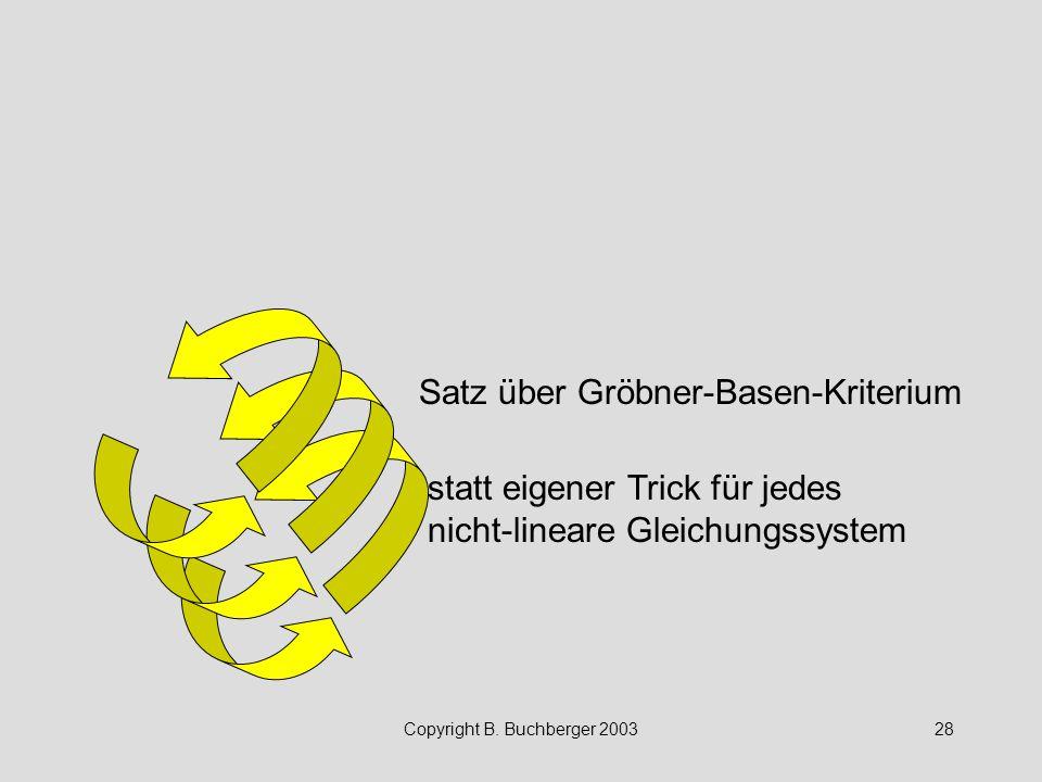 Copyright B. Buchberger 200328 Satz über Gröbner-Basen-Kriterium statt eigener Trick für jedes nicht-lineare Gleichungssystem
