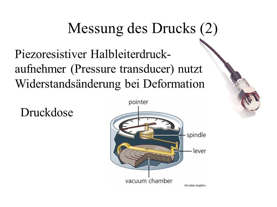 Messung des Drucks (2) Piezoresistiver Halbleiterdruck- aufnehmer (Pressure transducer) nutzt Widerstandsänderung bei Deformation Druckdose