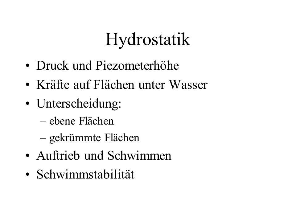 Hydrostatik Druck und Piezometerhöhe Kräfte auf Flächen unter Wasser Unterscheidung: –ebene Flächen –gekrümmte Flächen Auftrieb und Schwimmen Schwimms
