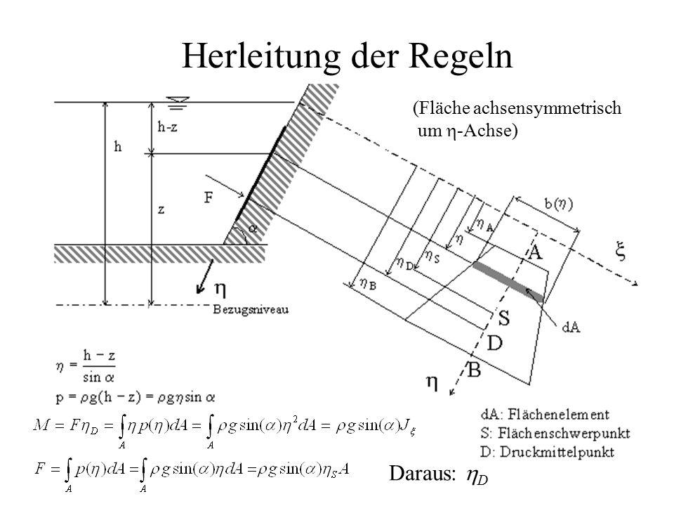 Herleitung der Regeln (Fläche achsensymmetrisch um  -Achse) Daraus:  D