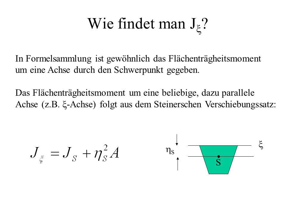Wie findet man J  ? In Formelsammlung ist gewöhnlich das Flächenträgheitsmoment um eine Achse durch den Schwerpunkt gegeben. Das Flächenträgheitsmome
