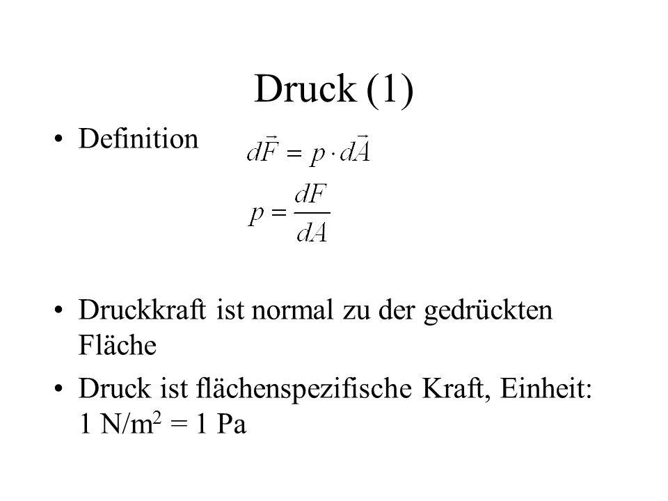Druck (1) Definition Druckkraft ist normal zu der gedrückten Fläche Druck ist flächenspezifische Kraft, Einheit: 1 N/m 2 = 1 Pa