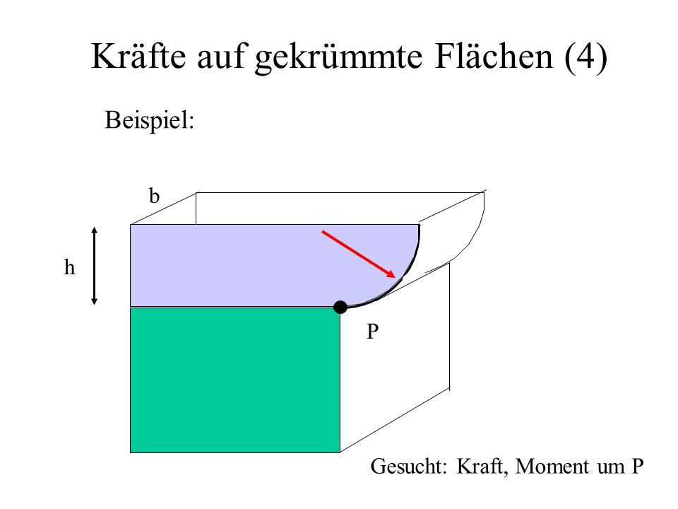 Kräfte auf gekrümmte Flächen (4) Beispiel: P h b Gesucht: Kraft, Moment um P
