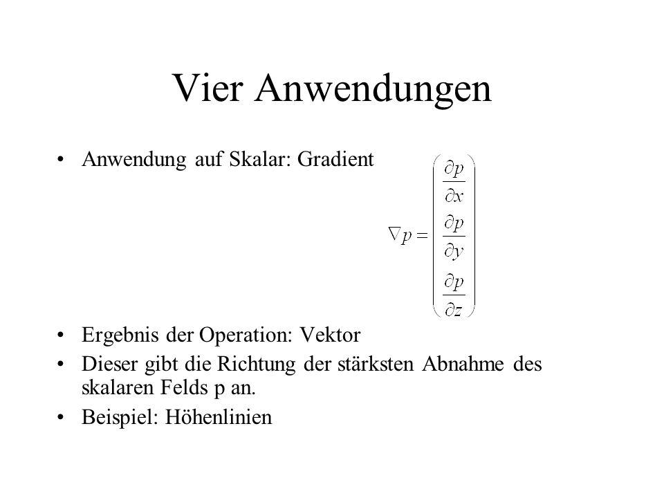 Vier Anwendungen Anwendung auf Skalar: Gradient Ergebnis der Operation: Vektor Dieser gibt die Richtung der stärksten Abnahme des skalaren Felds p an.