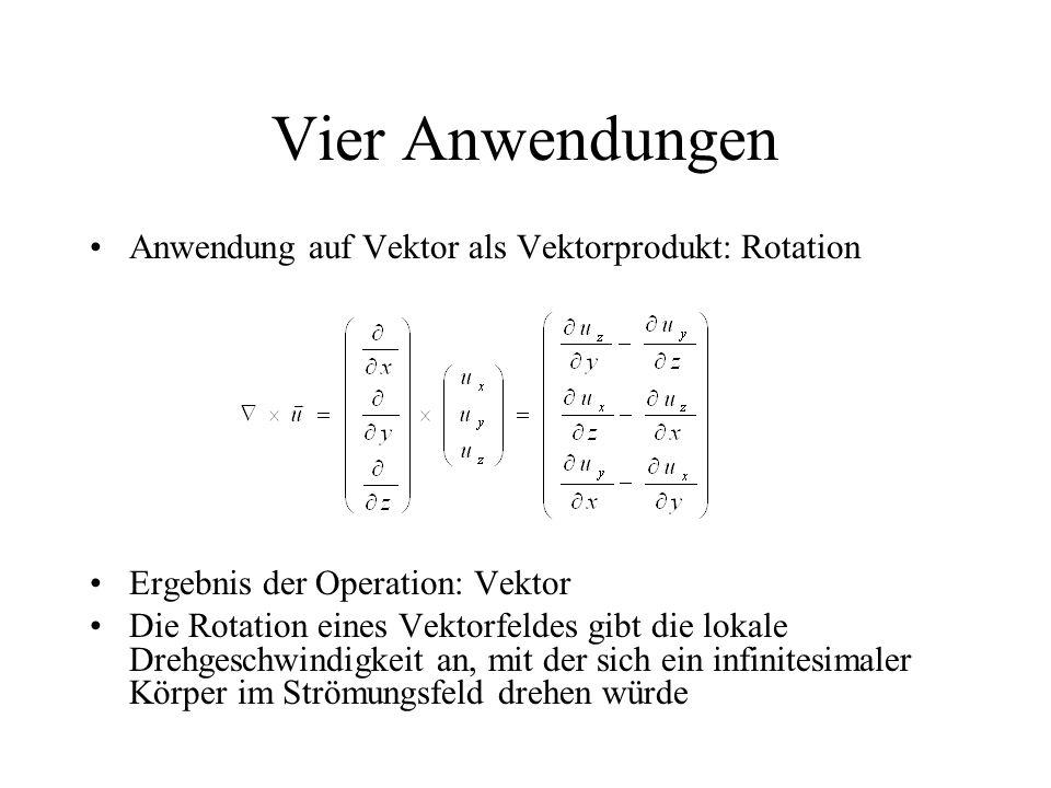 Vier Anwendungen Anwendung auf Vektor als Vektorprodukt: Rotation Ergebnis der Operation: Vektor Die Rotation eines Vektorfeldes gibt die lokale Drehgeschwindigkeit an, mit der sich ein infinitesimaler Körper im Strömungsfeld drehen würde
