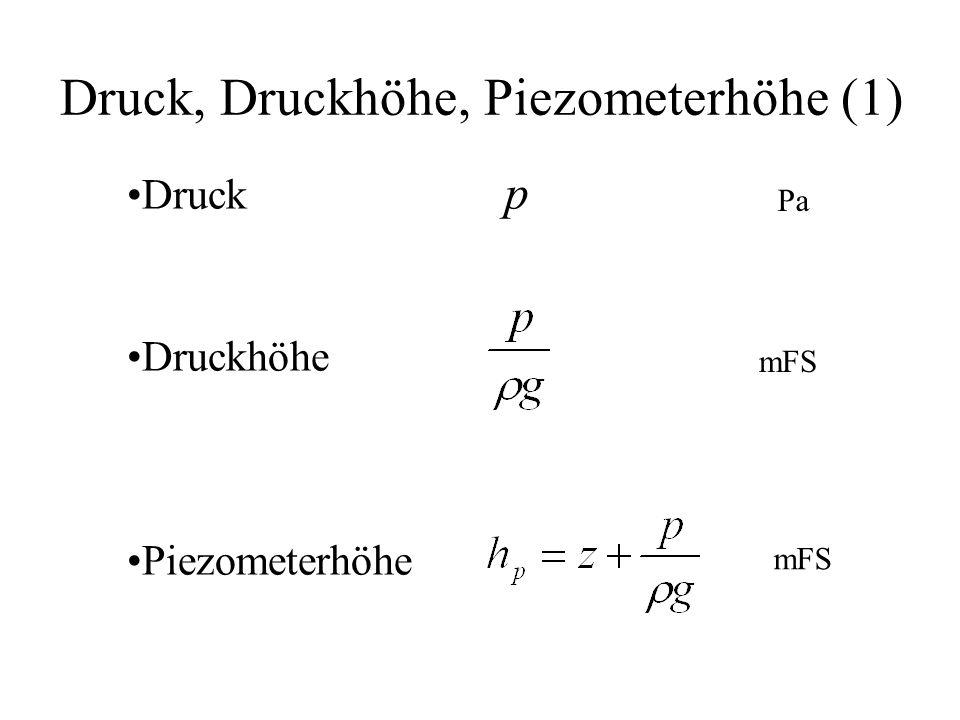 Druck, Druckhöhe, Piezometerhöhe (1) Druck p Druckhöhe Piezometerhöhe Pa mFS