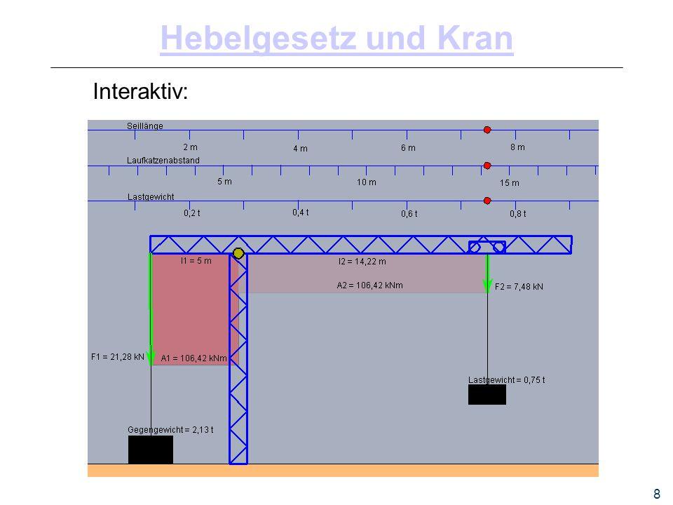 8 Hebelgesetz und Kran Interaktiv: