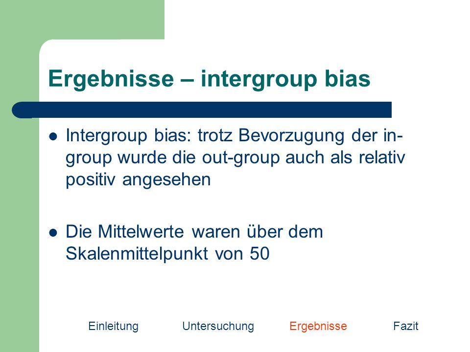 Ergebnisse – intergroup bias Intergroup bias: trotz Bevorzugung der in- group wurde die out-group auch als relativ positiv angesehen Die Mittelwerte waren über dem Skalenmittelpunkt von 50 EinleitungUntersuchung Ergebnisse Fazit