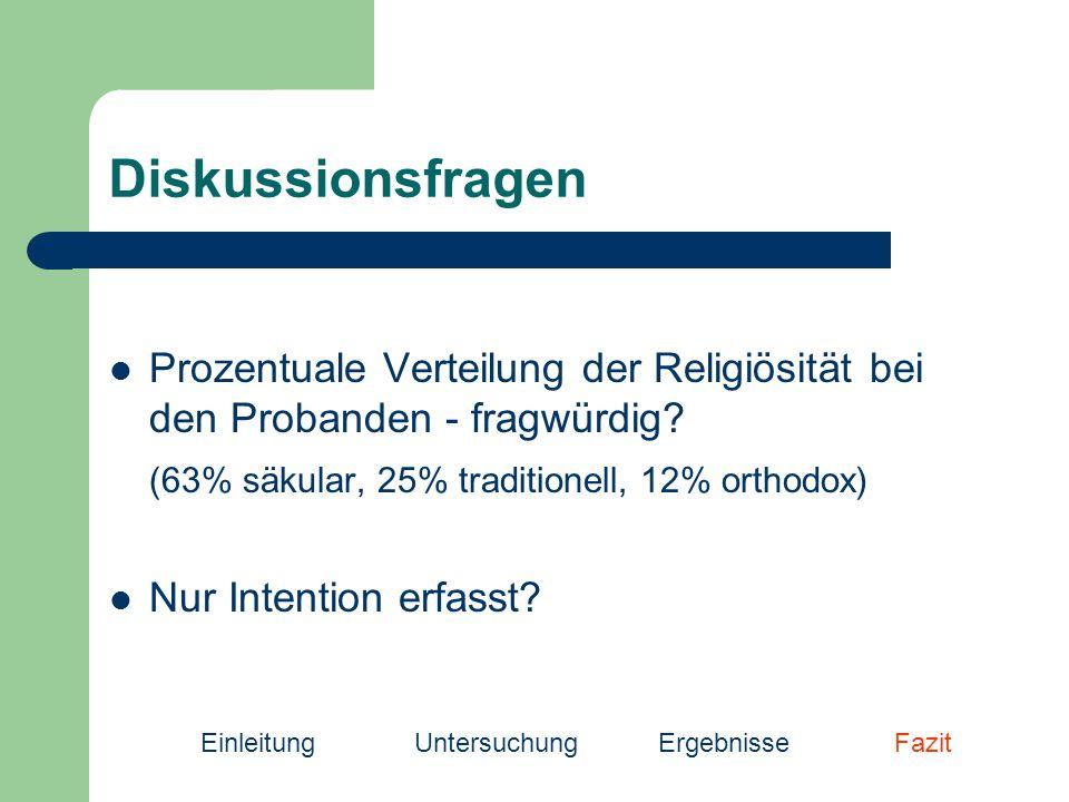 Diskussionsfragen Prozentuale Verteilung der Religiösität bei den Probanden - fragwürdig.