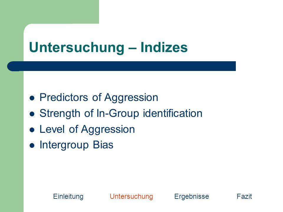 Untersuchung – Indizes Predictors of Aggression Strength of In-Group identification Level of Aggression Intergroup Bias EinleitungUntersuchung Ergebni