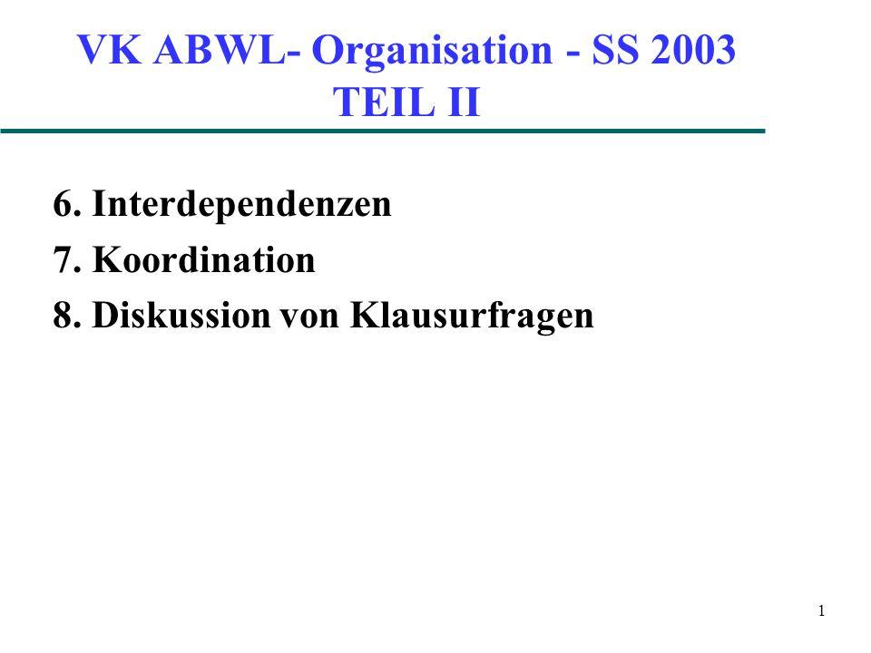 1 VK ABWL- Organisation - SS 2003 TEIL II 6. Interdependenzen 7.