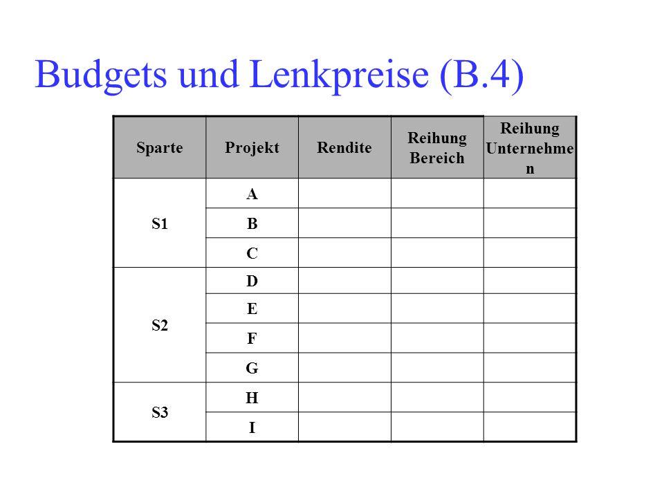 Budgets und Lenkpreise (B.4) SparteProjektRendite Reihung Bereich Reihung Unternehme n S1 A B C S2 D E F G S3 H I