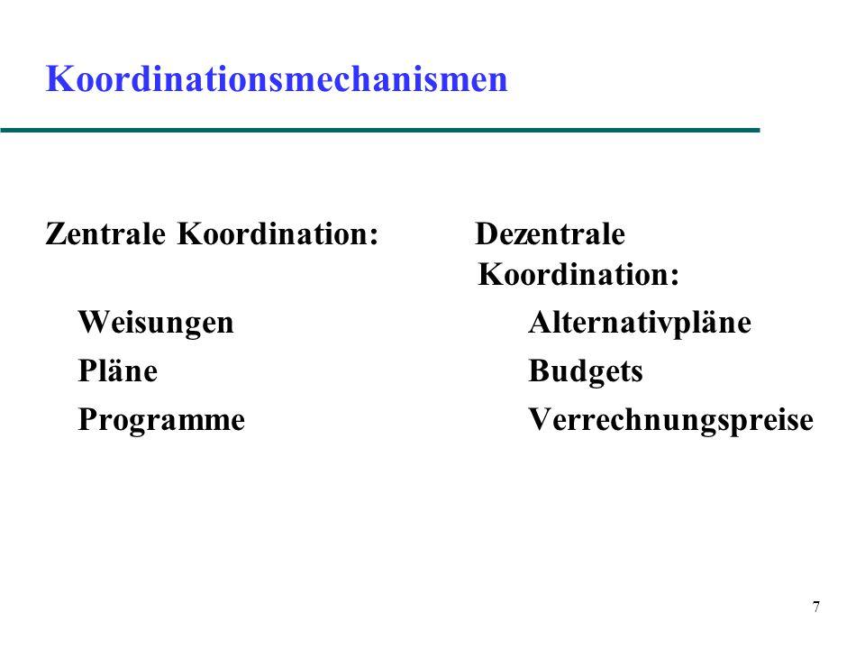 7 Koordinationsmechanismen Zentrale Koordination: Dezentrale Koordination: Weisungen Alternativpläne Pläne Budgets Programme Verrechnungspreise
