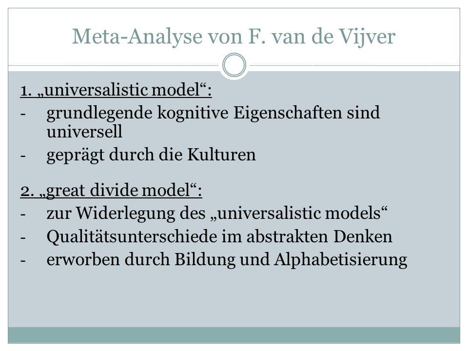 Meta-Analyse von F. van de Vijver 1.