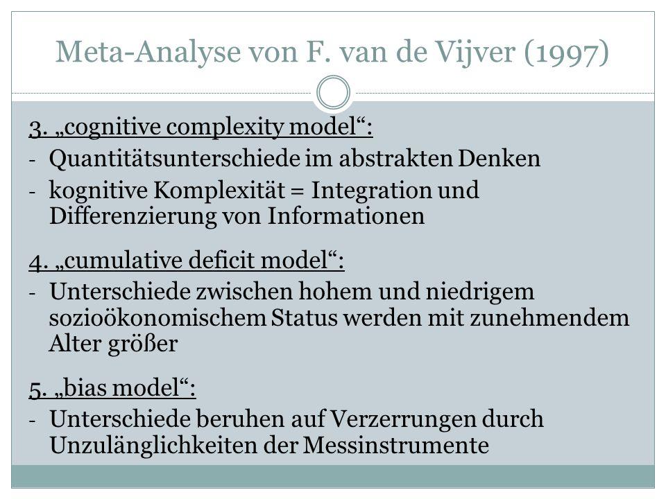 Meta-Analyse von F. van de Vijver (1997) 3.