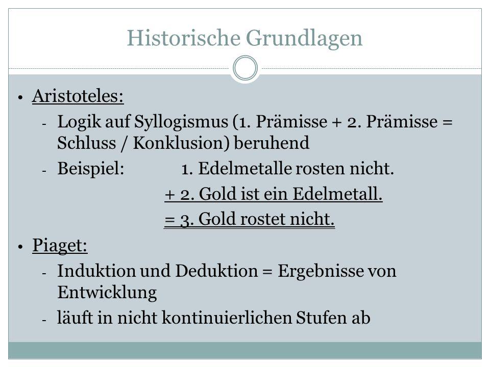 Historische Grundlagen Aristoteles: - Logik auf Syllogismus (1.