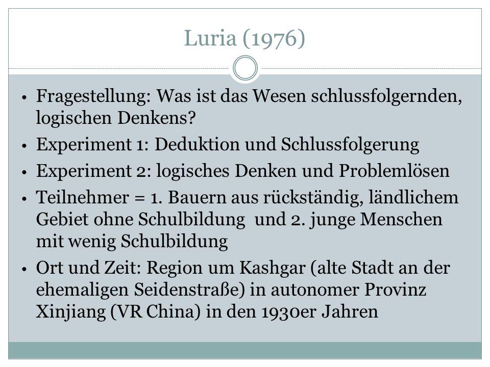 Luria (1976) Fragestellung: Was ist das Wesen schlussfolgernden, logischen Denkens.