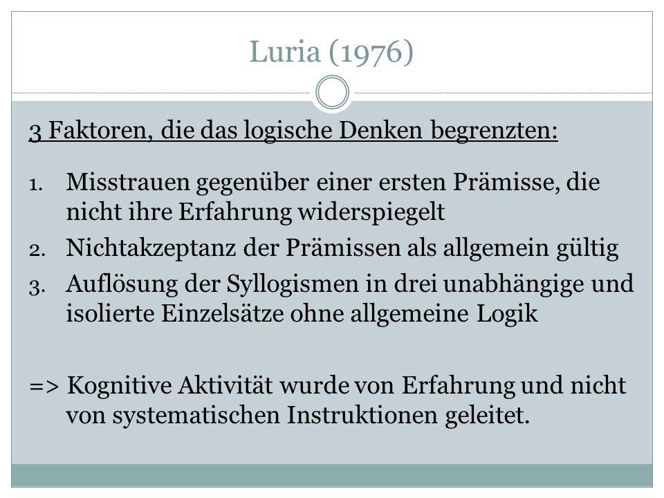 Luria (1976) 3 Faktoren, die das logische Denken begrenzten: 1.