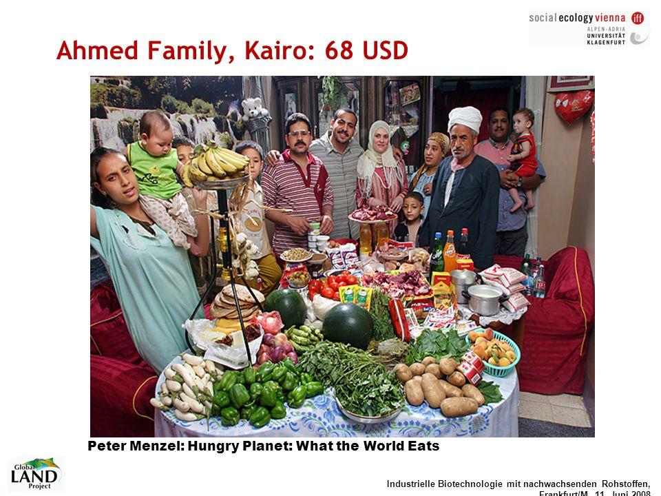 Industrielle Biotechnologie mit nachwachsenden Rohstoffen, Frankfurt/M, 11. Juni 2008 Ahmed Family, Kairo: 68 USD Peter Menzel: Hungry Planet: What th