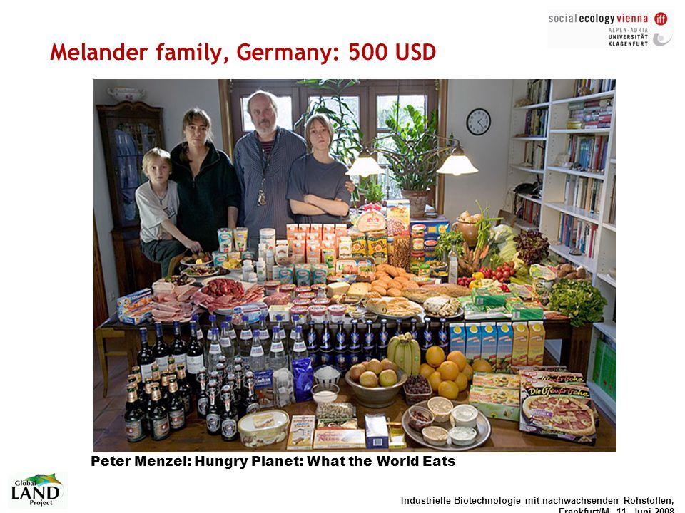 Industrielle Biotechnologie mit nachwachsenden Rohstoffen, Frankfurt/M, 11. Juni 2008 Melander family, Germany: 500 USD Peter Menzel: Hungry Planet: W