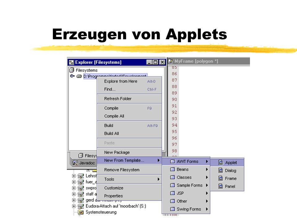 Erzeugen von Applets