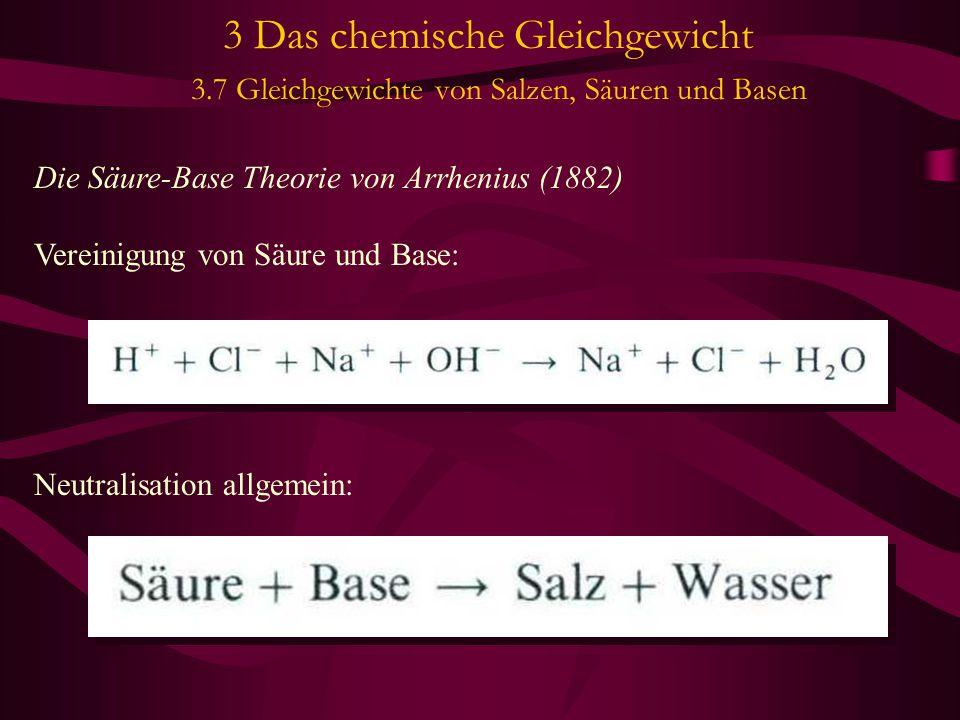 3 Das chemische Gleichgewicht 3.7 Gleichgewichte von Salzen, Säuren und Basen Die Säure-Base Theorie von Arrhenius (1882) Vereinigung von Säure und Base: Neutralisation allgemein: