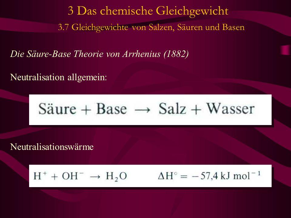 3 Das chemische Gleichgewicht 3.7 Gleichgewichte von Salzen, Säuren und Basen Die Säure-Base Theorie von Arrhenius (1882) Neutralisation allgemein: Ne