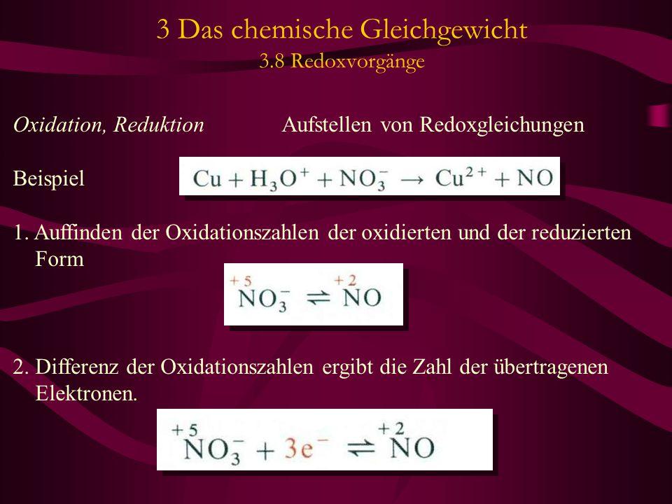 3 Das chemische Gleichgewicht 3.8 Redoxvorgänge Oxidation, Reduktion Aufstellen von Redoxgleichungen Beispiel 1. Auffinden der Oxidationszahlen der ox