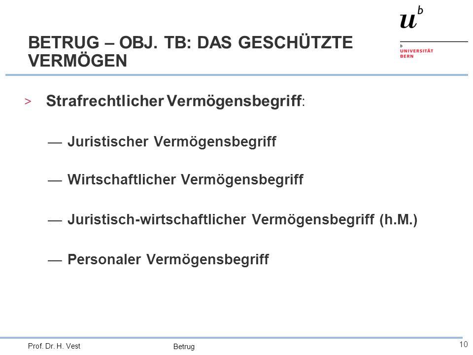 Betrug 10 Prof. Dr. H. Vest BETRUG – OBJ. TB: DAS GESCHÜTZTE VERMÖGEN > Strafrechtlicher Vermögensbegriff : —Juristischer Vermögensbegriff —Wirtschaft