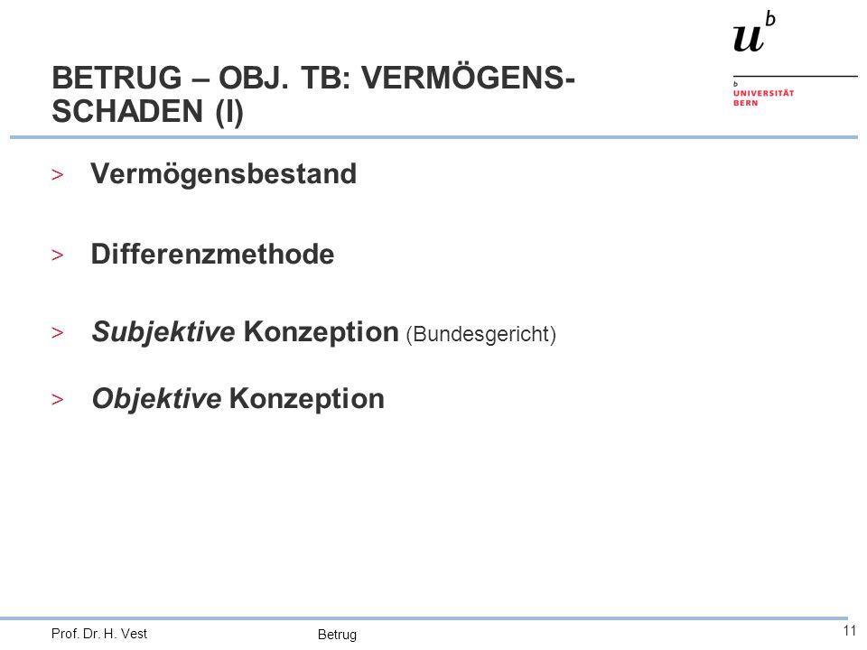 Betrug 11 Prof. Dr. H. Vest BETRUG – OBJ. TB: VERMÖGENS- SCHADEN (I) > Vermögensbestand > Differenzmethode > Subjektive Konzeption (Bundesgericht) > O