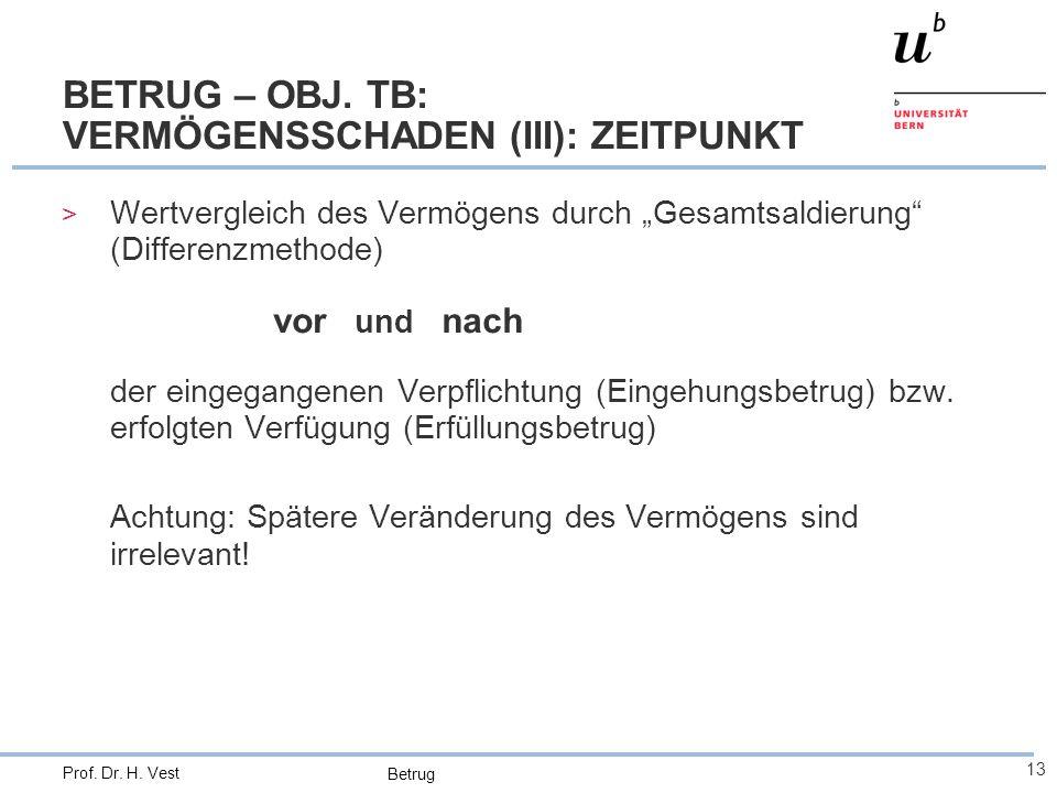 """Betrug 13 Prof. Dr. H. Vest BETRUG – OBJ. TB: VERMÖGENSSCHADEN (III): ZEITPUNKT > Wertvergleich des Vermögens durch """"Gesamtsaldierung"""" (Differenzmetho"""