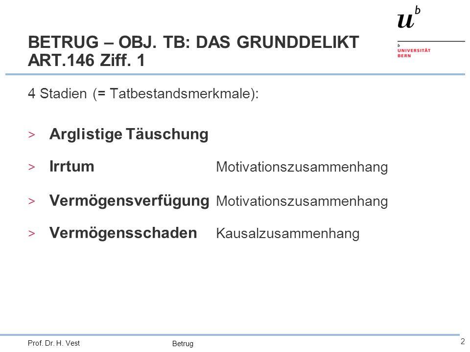 Betrug 2 Prof. Dr. H. Vest BETRUG – OBJ. TB: DAS GRUNDDELIKT ART.146 Ziff. 1 4 Stadien (= Tatbestandsmerkmale): > Arglistige Täuschung > Irrtum Motiva