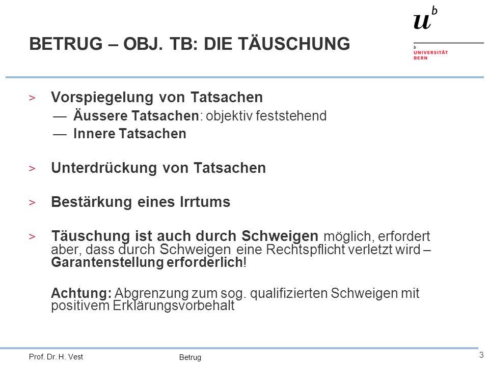 Betrug 3 Prof. Dr. H. Vest BETRUG – OBJ. TB: DIE TÄUSCHUNG > Vorspiegelung von Tatsachen —Äussere Tatsachen: objektiv feststehend —Innere Tatsachen >