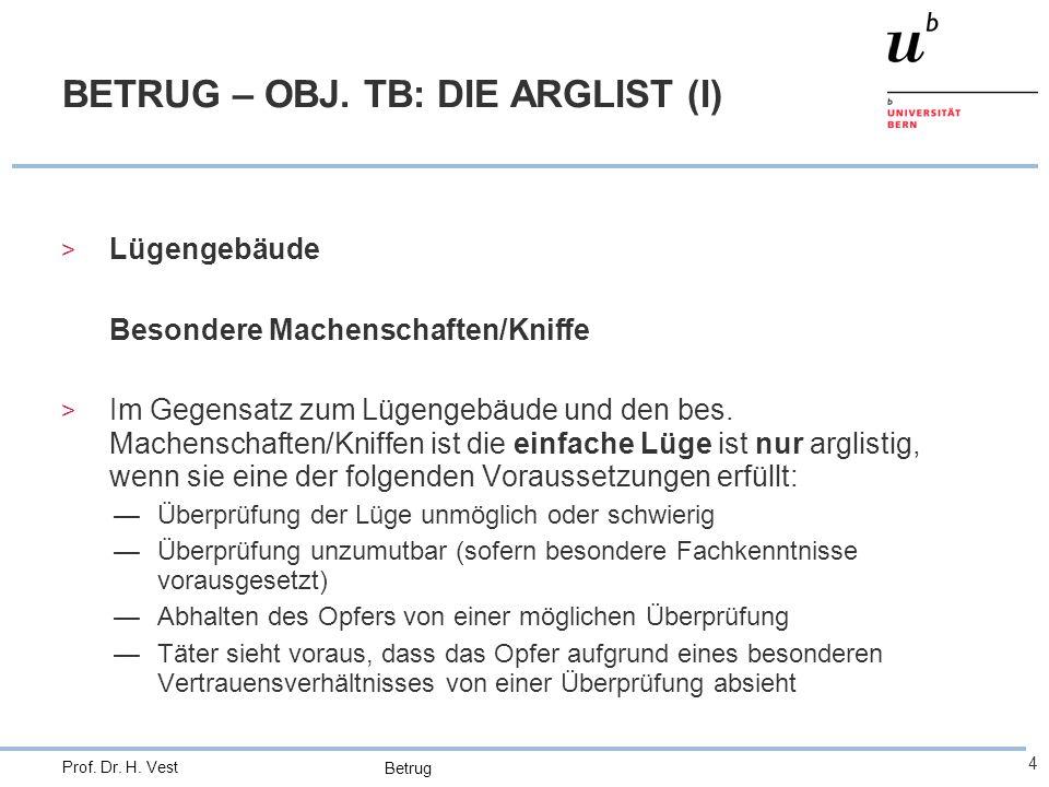 Betrug 4 Prof. Dr. H. Vest BETRUG – OBJ. TB: DIE ARGLIST (I) > Lügengebäude Besondere Machenschaften/Kniffe > Im Gegensatz zum Lügengebäude und den be