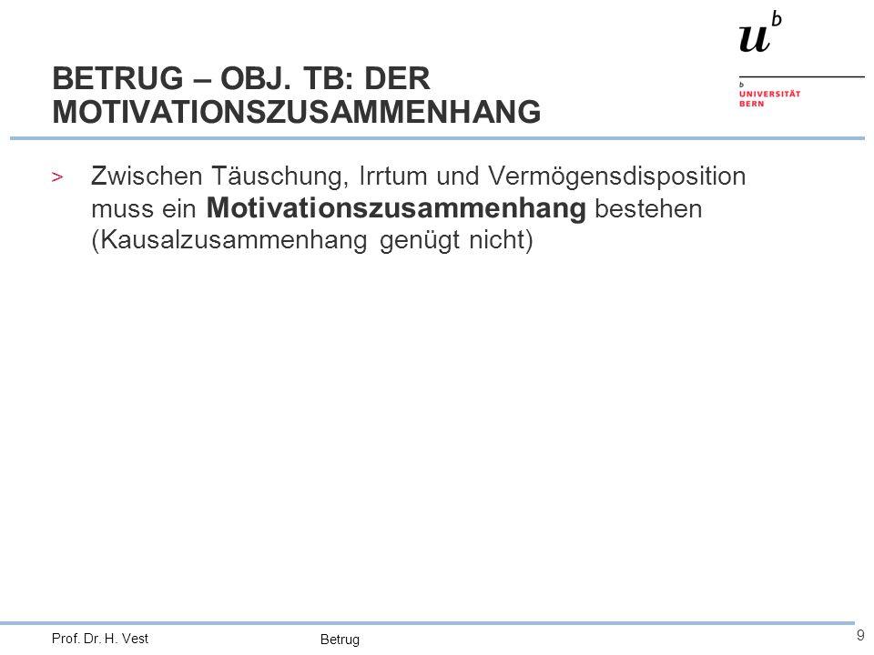 Betrug 9 Prof. Dr. H. Vest BETRUG – OBJ. TB: DER MOTIVATIONSZUSAMMENHANG > Zwischen Täuschung, Irrtum und Vermögensdisposition muss ein Motivationszus