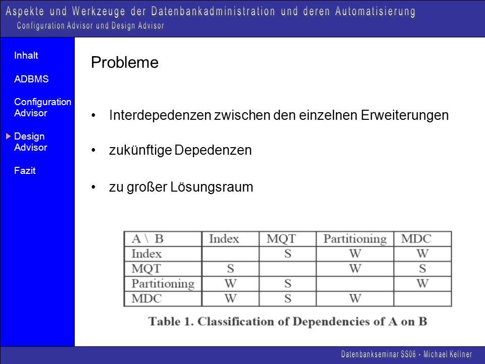 Inhalt ADBMS Configuration Advisor Design Advisor Fazit Probleme Interdepedenzen zwischen den einzelnen Erweiterungen zukünftige Depedenzen zu großer Lösungsraum
