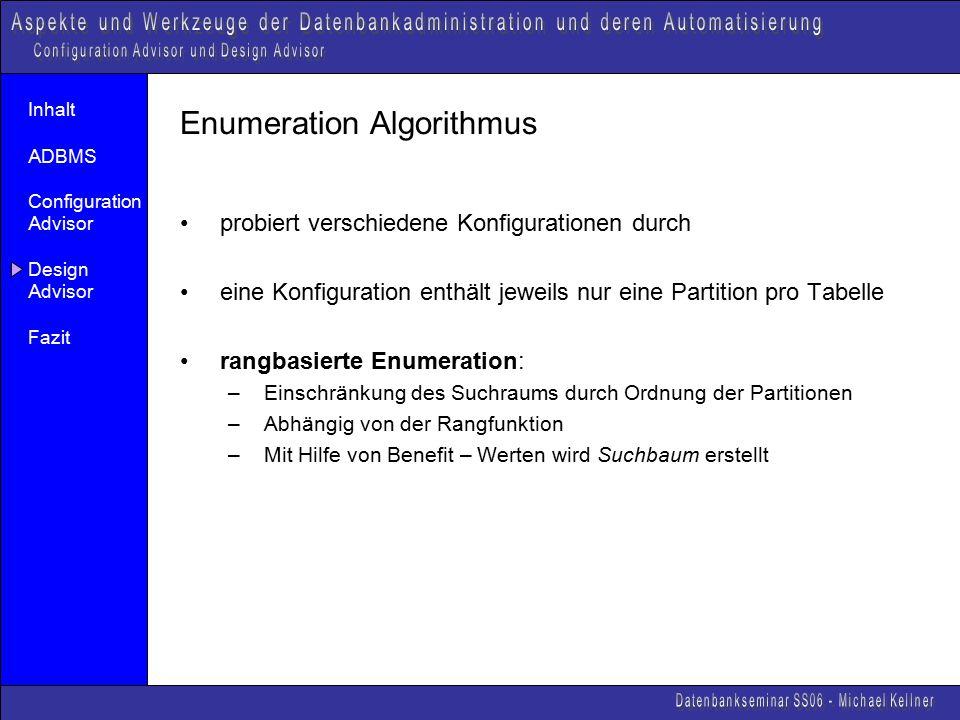 Inhalt ADBMS Configuration Advisor Design Advisor Fazit Enumeration Algorithmus probiert verschiedene Konfigurationen durch eine Konfiguration enthält jeweils nur eine Partition pro Tabelle rangbasierte Enumeration: –Einschränkung des Suchraums durch Ordnung der Partitionen –Abhängig von der Rangfunktion –Mit Hilfe von Benefit – Werten wird Suchbaum erstellt