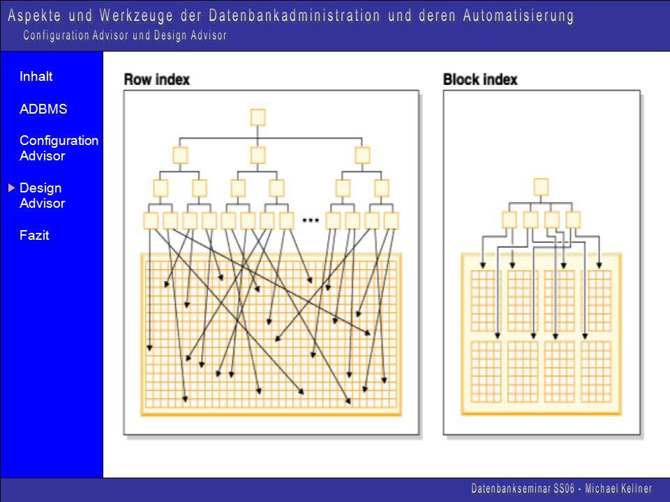 Inhalt ADBMS Configuration Advisor Design Advisor Fazit