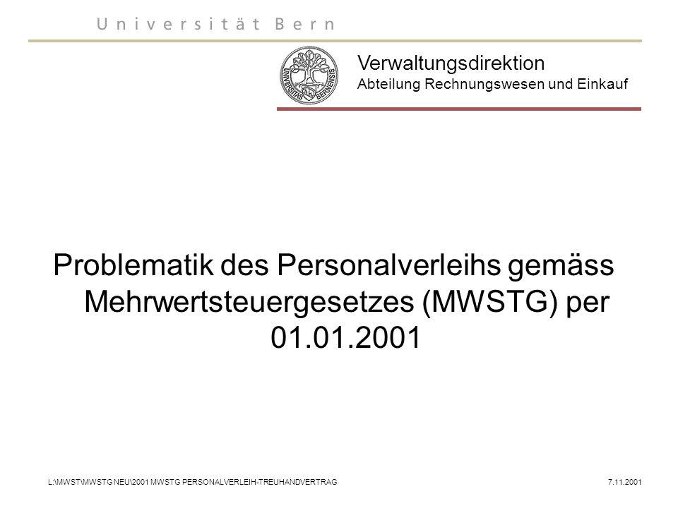 Abteilung Rechnungswesen + Einkauf Personalverleih Rechtsgrundlagen Mehrwertsteuergesetz (MWSTG) (Art.