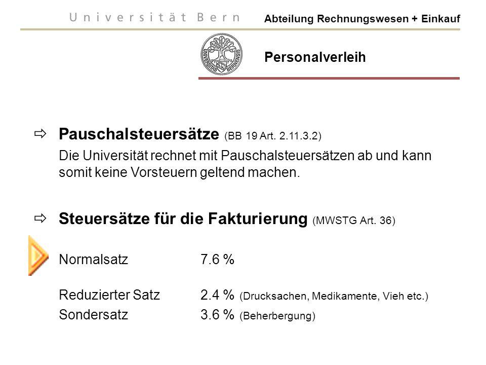 Abteilung Rechnungswesen + Einkauf  Pauschalsteuersätze (BB 19 Art.