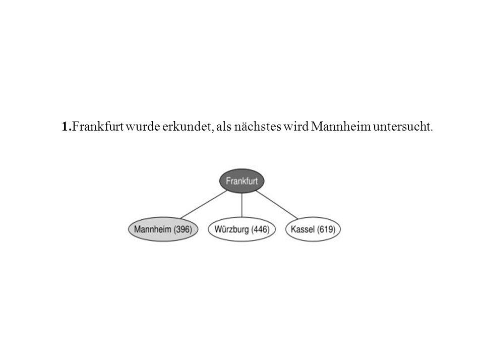 1.Frankfurt wurde erkundet, als nächstes wird Mannheim untersucht.