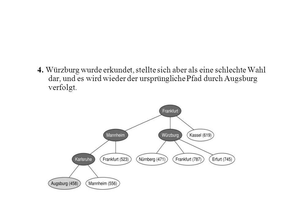 4. Würzburg wurde erkundet, stellte sich aber als eine schlechte Wahl dar, und es wird wieder der ursprüngliche Pfad durch Augsburg verfolgt.