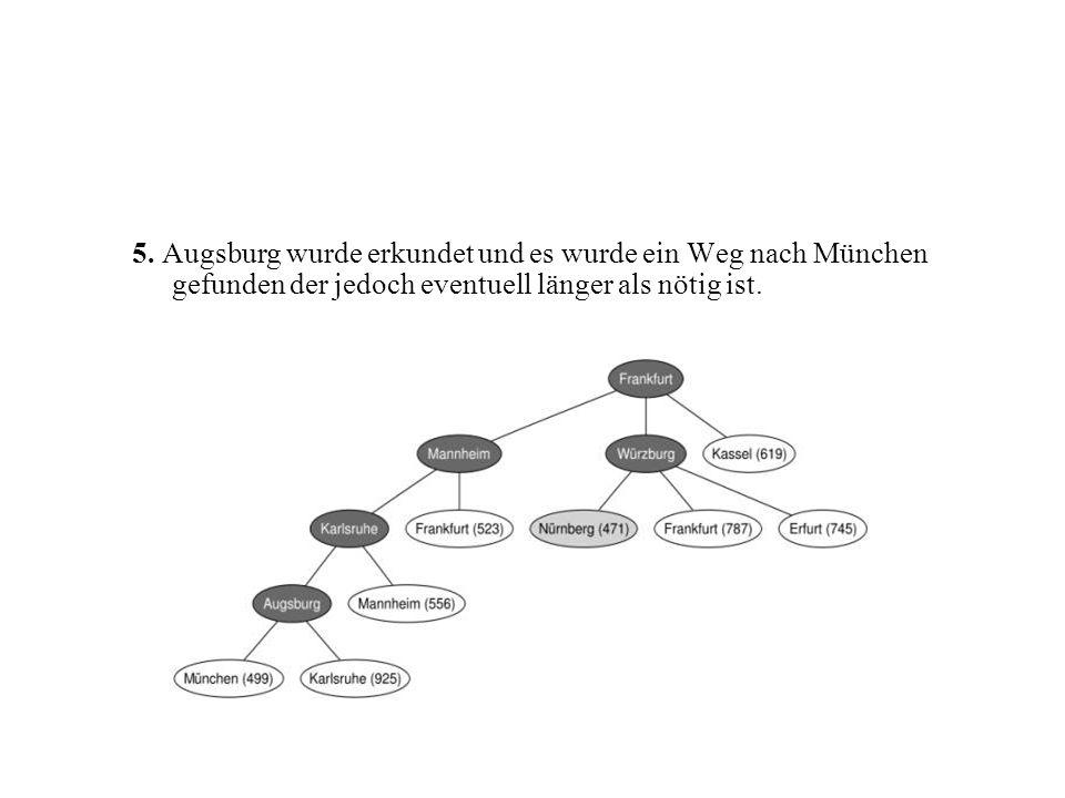5. Augsburg wurde erkundet und es wurde ein Weg nach München gefunden der jedoch eventuell länger als nötig ist.