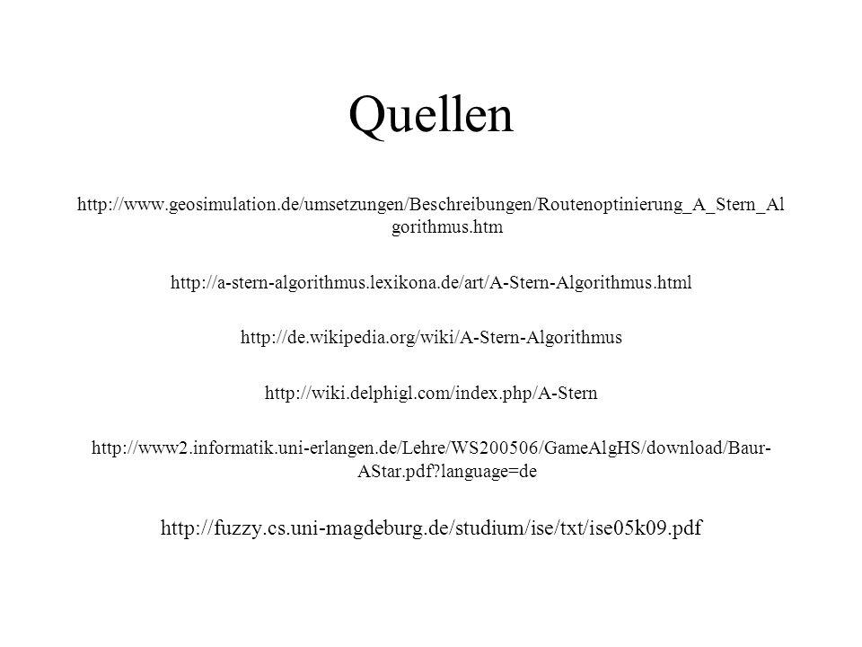 Quellen http://www.geosimulation.de/umsetzungen/Beschreibungen/Routenoptinierung_A_Stern_Al gorithmus.htm http://a-stern-algorithmus.lexikona.de/art/A